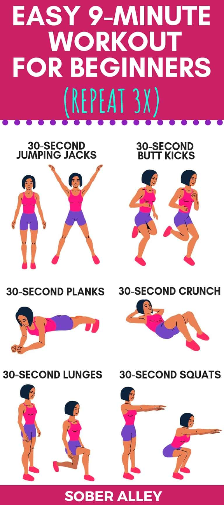 easy at home workouts for beginners pinterest image