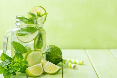 Lime and mint detox water