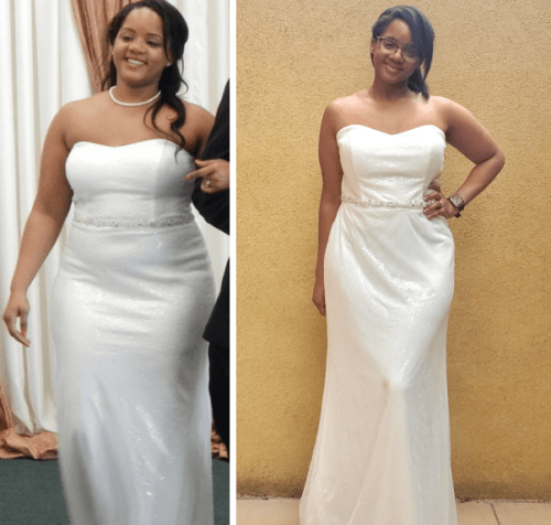 me in my wedding dress before and after weight loss