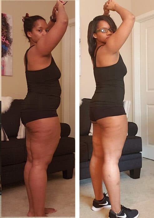 side by side intermittent fasting weight loss photos