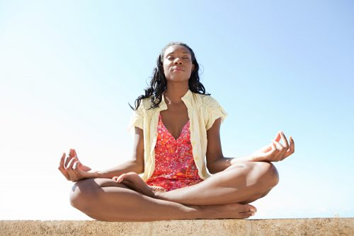 woman meditating affirmations